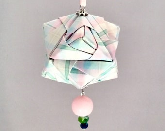 Cotton Candy Pink and Blue Origami Christmas/Holiday Ornament