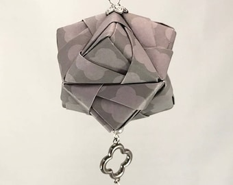 Gray Patterned Handmade Origami Christmas/Holiday Ornament