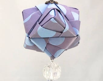 Purple and Blue Polka Dotted Handmade Origami Christmas/Holiday Ornament