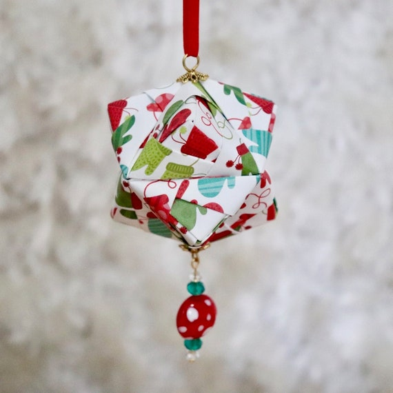 Winter Mitten Printed Origami Christmas Ornament Holiday Decor Christmas Decor Ornaments