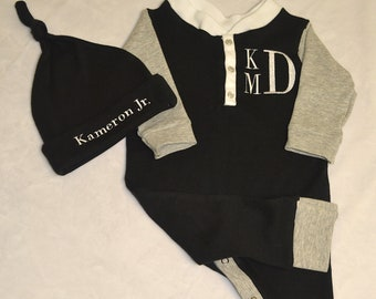 Black/Grey Personalized, Custom Made Baby Outfit, Upscale Baby Outfit, Going Home Outfit Boy-Baby Shower Gift Boy-Coming Home Outfit Boy