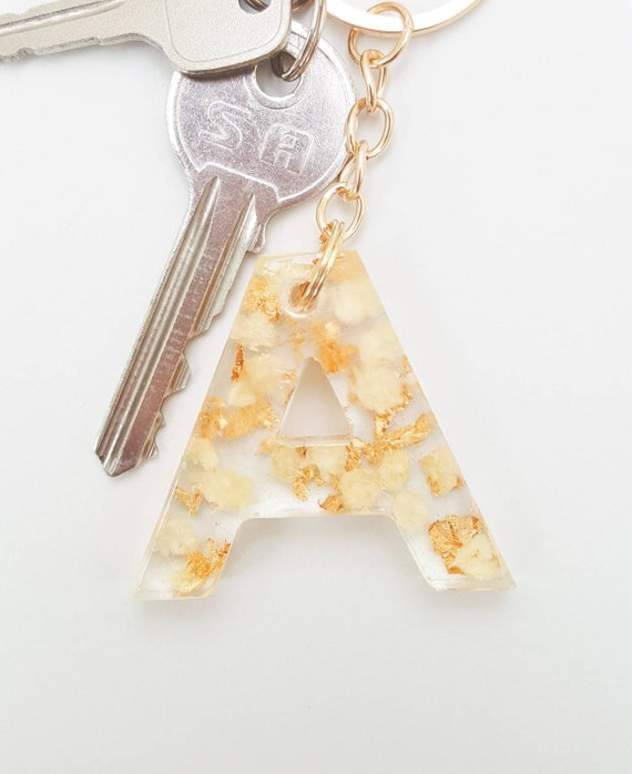 Pink Flower PetalsMagenta Flowers and Gold Flakes Letter Resin Keychain ~ Cute Flower Alphabet Letter Resin Keychain ~ Gold Resin Keychain