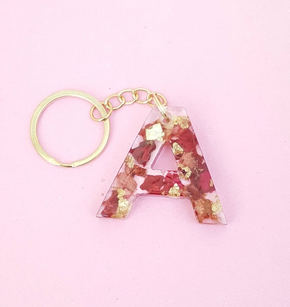 Rose Gold /& Silver Flakes Dog Resin Decorative Keychain