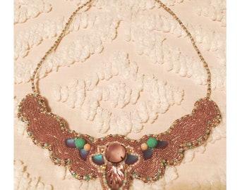 Lavendar Bead Embroidered Bib Necklace