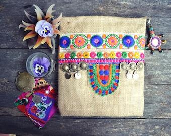 Banjara Kuchi Bag Cosmetic box pencil case Hippie India Bohemian Tribal Ethnic trim Rabari Rajasthan Coins Gipsy purse wallet