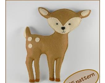 Deer easy PDF pattern Felt deer pattern Felt Hand Sewing Deer Plushie Deer Softie Pattern woodland nursery decor Instant Download PDF