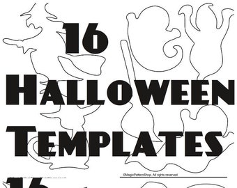 hallowen ornaments templates pdf instant download diy halloween ornament halloween garland halloween decor diy applique template