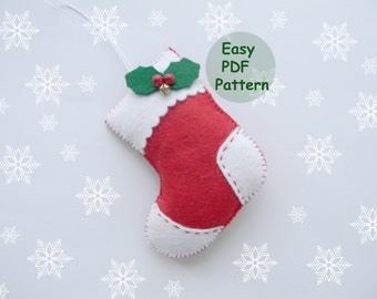 pdf pattern felt stocking easy christmas stocking ornaments pattern red felt christmas ornament easy sewing pattern diy advent ornament