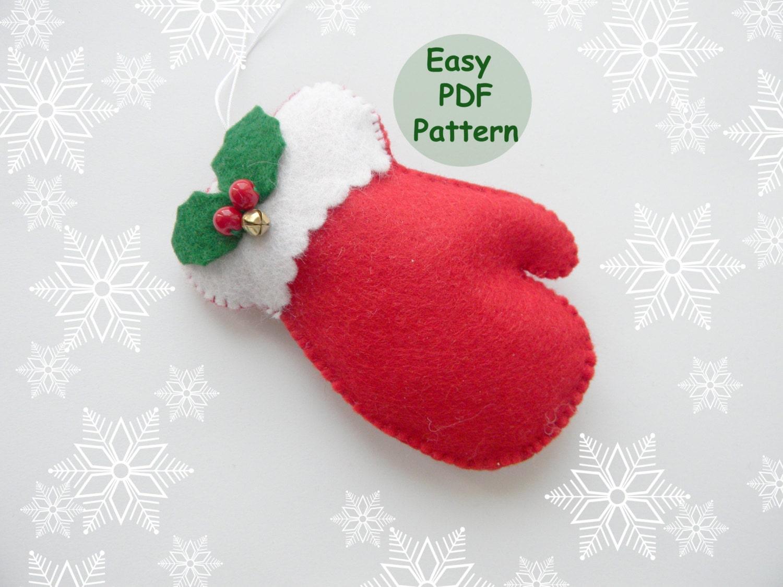 Pdf Pattern Mitten Christmas Ornaments Pattern Felt Mitten Pattern Easy Sewing Pattern Christmas Decorations Diy Advent Ornament