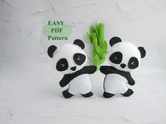 panda felt ornament pdf pattern felt panda bear sewing pattern etsy