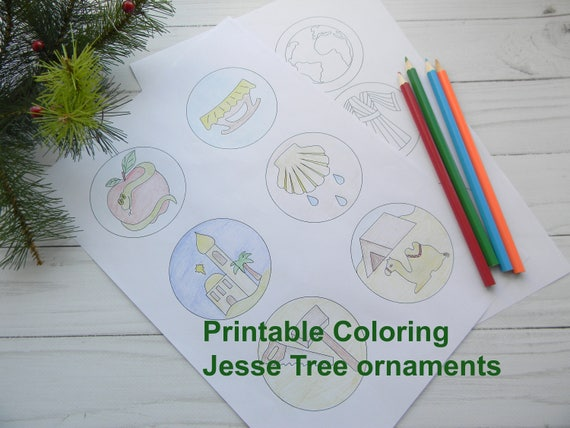 Printable Jesse Tree Ornaments Children's Jesse Tree ornament coloring  pages Advent Jesse Tree Activity Kids Christmas Craft Sunday School
