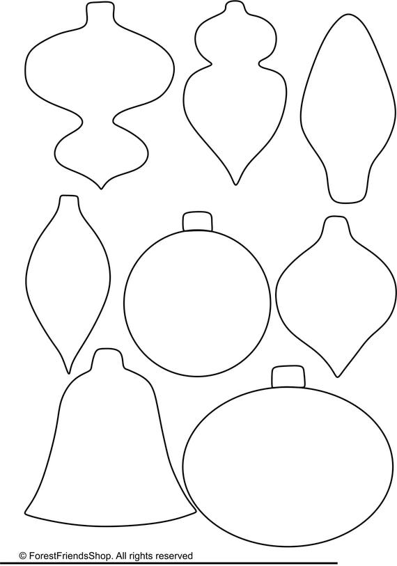 christmas ornaments templates pdf instant download diy etsy