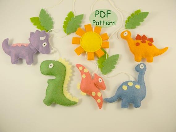 Pdf Dinosaur Patterns Diy Dinosaur Mobile Sewing Felt Baby Etsy