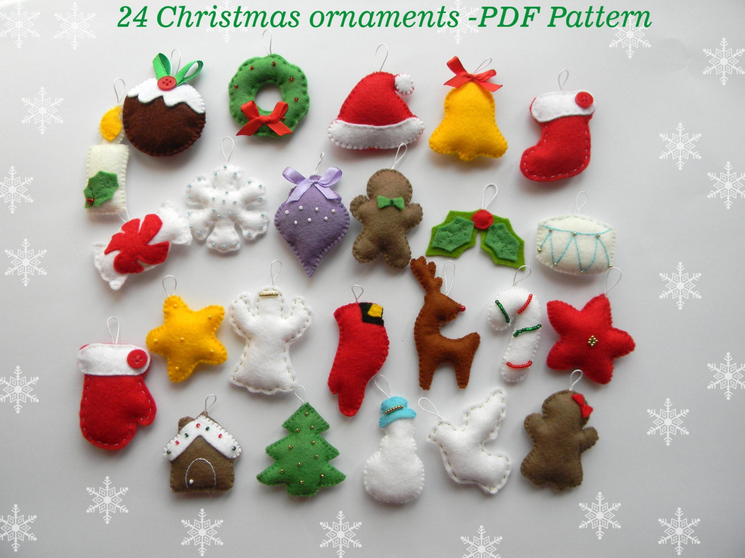 pdf pattern 24 advent ornaments pattren christmas ormaments etsy - Felt Christmas Ornaments