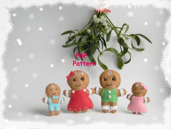 Pdf Pattern Gingerbread Family Christmas Ornaments Pattern Etsy