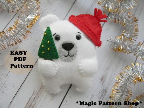 Polar Bear Pattern Christmas Oranment Pattern Pdf Felt Cute Etsy