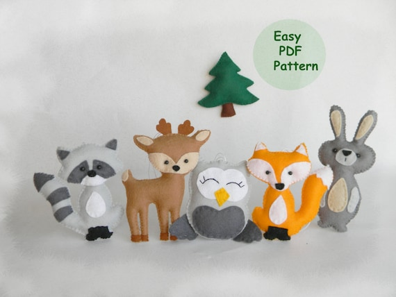 woodland mobile sewing pattern easy woodland animals pattern etsy