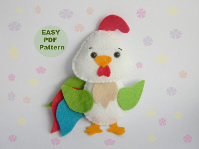 pdf pattern rooster ornament kawaii softie sewing pattern   etsy