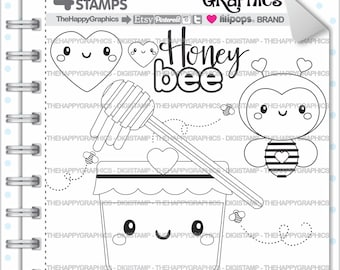 Bee Stamp Commercial Use Digi Digital Image Honey Digistamp Cute Stamps Animal Clipart