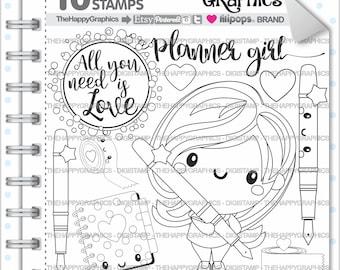 Planner Girl Stamps Commercial Use Digi Stamp Digital Image Planning Digistamp Coloring Page Cliparts