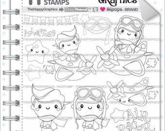 Pilot Stamp Commercial Use Digi Digital Image Digistamp Aviator Airplane Plane