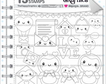 Love Stamps Commercial Use Digi Stamp Digital Image Digistamp Coloring Page Valentines Day Cute Animal