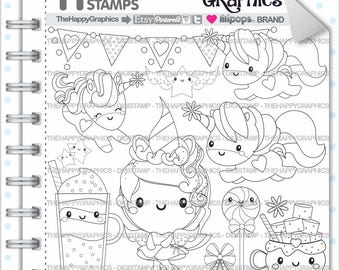 Unicorn Stamp COMMERCIAL USE Digi Digital Image Digistamp Coloring Page Graphic Girl