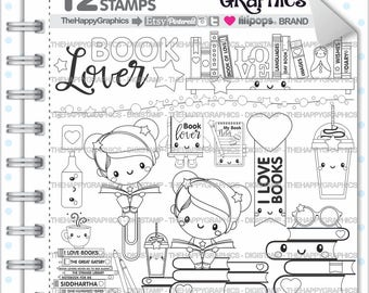 Back To School Stamp COMMERCIAL USE Digi Book Digistamp Kawaii Stamps Student Digital Study Girl