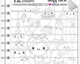 Clean Up Stamp Commercial Use Digi Digital Image Digistamp Coloring Page Chore Stamps Housekeeping Organizing