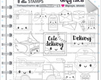 Delivery Stamp COMMERCIAL USE Digi Happy Mail Digistamp Kawaii Stamps Package Box Digital