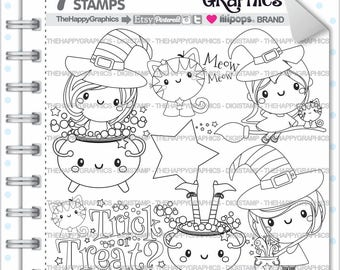 Halloween Stamp Commercial Use Digi Digital Image Digistamp Party Clipart Witch