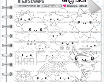 Weather Stamp Commercial Use Digi Digital Image Digistamp Party Coloring Page Forecast Cute