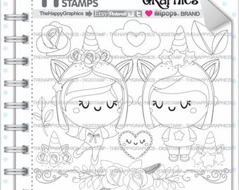 Unicorn Stamps Commercial Use Digi Stamp Digital Image Love Digistamp Coloring Page Valentines Day Cute