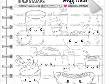 Love Stamps Commercial Use Digi Stamp Digital Image Digistamp Coloring Page Valentines Day Food Perfect Pair