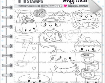 Cat Stamps Commercial Use Digi Stamp Digital Image Digistamp Coloring Page Animal Cute