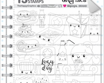 Lazy Day Stamps Commercial Use Digi Stamp Digital Image Digistamp Coloring Page Relax Kawaii
