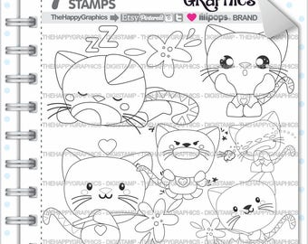 Cat Stamp Commercial Use Digi Digital Image Digistamp Coloring Page Autumn Graphic Animal Mood Feeling