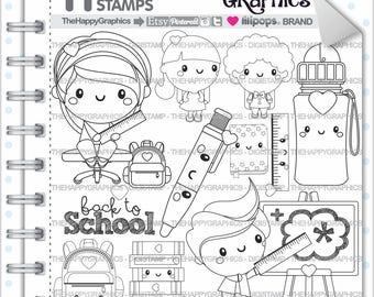 Back To School Stamp 80OFF COMMERCIAL USE Digi Digital Image Digistamp Kawaii Stamps Student Study