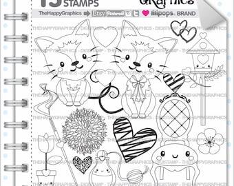 Cat Stamp 80OFF Commercial Use Digi Digital Image Digistamp Animal Clipart Cute Ctas Clip Art Fancy
