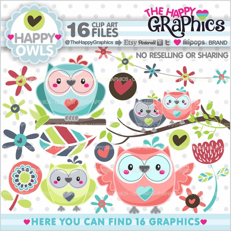 Owl Clipart Owl Graphic COMMERCIAL USE Owl Party Planner image 0