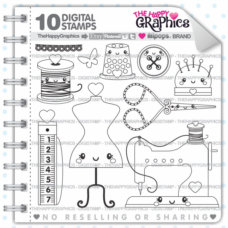 Sewing Stamps Colorign Pages COMMERCIAL USE Seamstress image 0