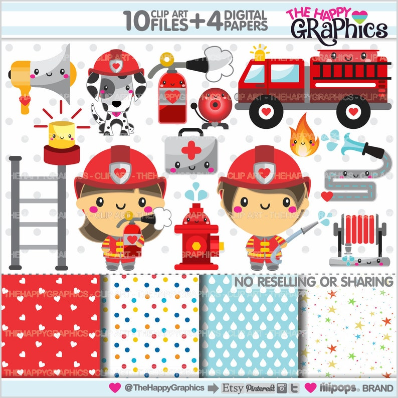Firefighter Clipart Firefighter Graphics COMMERCIAL USE image 0