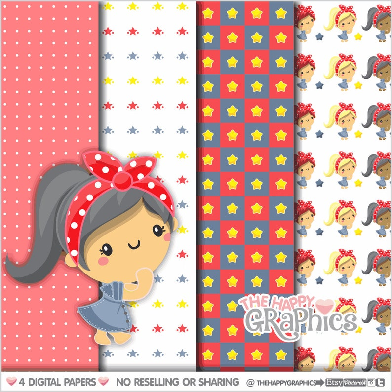 Girl Digital Paper COMMERCIAL USE Girl Pattern Printable image 0