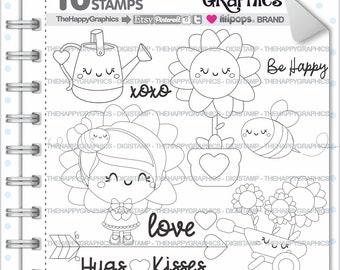 Sunflower Stamp, 80%OFF, Commercial Use, Digi Stamp, Digital Image, Sunflower Digistamp, Girl Digital Stamp, Cute Digistamp, Flower, Outline