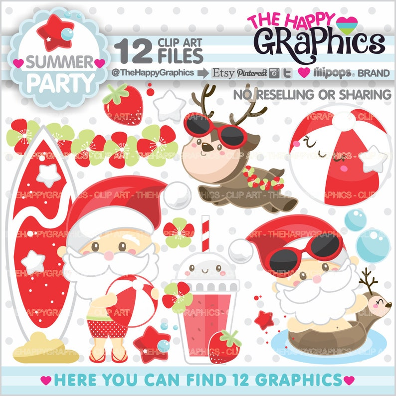 Christmas Clipart Christmas Graphic COMMERCIAL USE Summer image 0