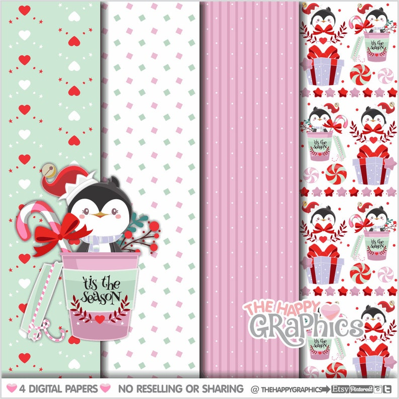 Christmas Digital Paper Christmas Pattern COMMERCIAL USE image 0