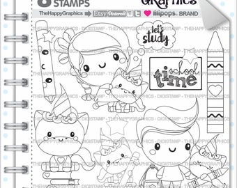 Back To School Stamp 80OFF COMMERCIAL USE Digi Digital Image Digistamp Unicorn Coloring Page Graphic