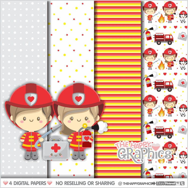 Firefighter Digital Papers Firefighter Pattern COMMERCIAL image 0