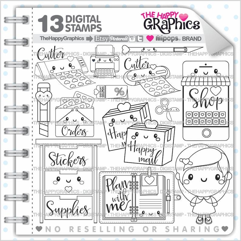 Planner Girl Stamps Commercial Use Digi Stamp Digital image 0
