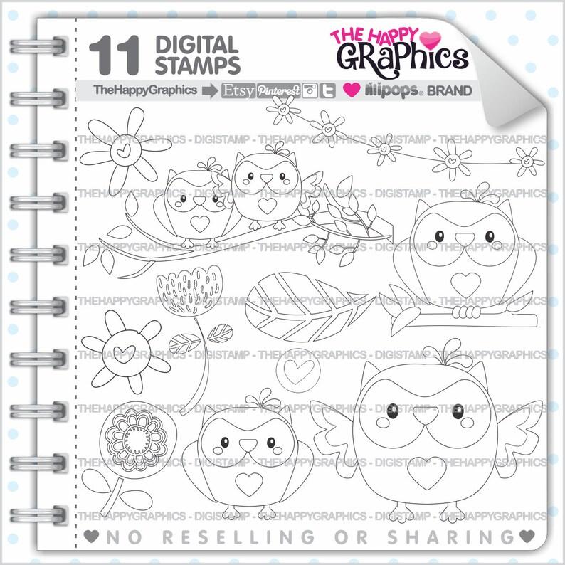 Owl Stamp Commercial Use Digi Stamp Digital Image Owl image 0